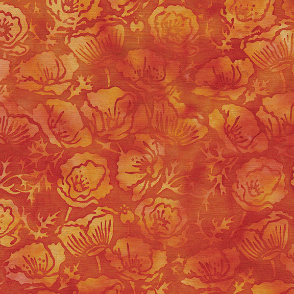 NEW! Island Batiks--Vincent's Garden--Poppies-Poppy<br><STRONG>$11.80/YARD</strong><br>$2.95/Quarter Yard
