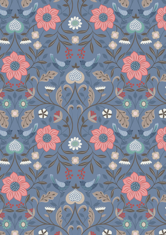 Lewis & Irene Michaelmas--Little Bird Floral on Blue<br><STRONG>$9.96/YARD</strong><br>$2.49/Quarter Yard