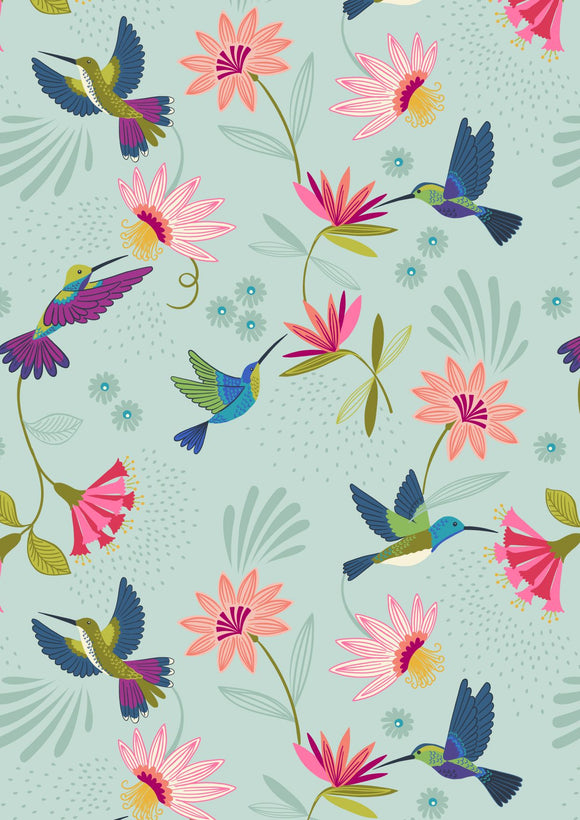 Lewis & Irene Hummingbird--Hummingbirds on Duck Egg<br><STRONG>$9.96/YARD</strong><br>$2.49/Quarter Yard