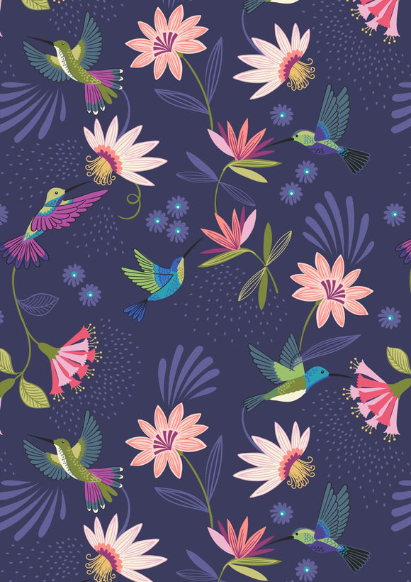 Lewis & Irene Hummingbird--Hummingbirds on Dark Blue<br><STRONG>$9.96/YARD</strong><br>$2.49/Quarter Yard