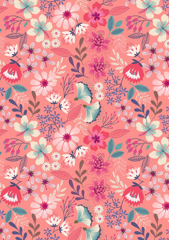 Lewis & Irene Hummingbird--Summer Floral on Dark Blush<br><STRONG>$9.96/YARD</strong<br>$2.49/Quarter Yard>