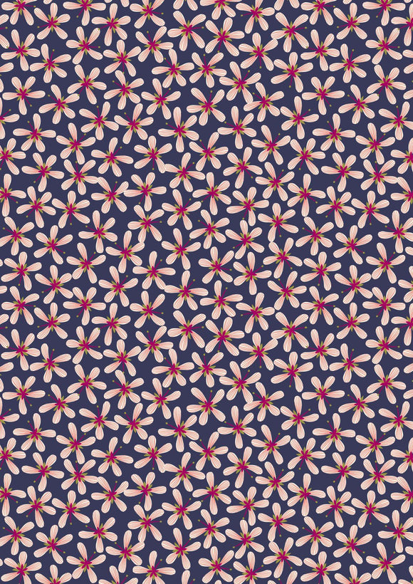 Lewis & Irene Hummingbird--Stripey Flowers on Dark Blue<br><STRONG>$9.96/YARD</strong><br>$2.49/Quarter Yard