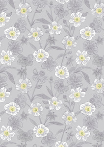 Lewis & Irene Botanic Garden--Rambling Floral on Lightest Grey<br><STRONG>$9.96/YARD</strong<STRONG><br>$2.49/Quarter Yard