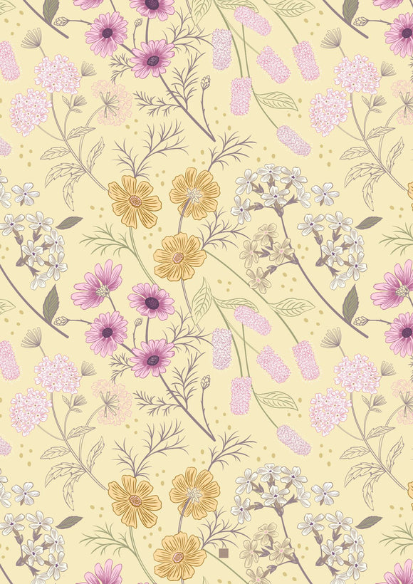 Lewis & Irene Botanic Garden--Garden Floral on Pale Yellow<br><STRONG>$9.96/YARD</strong><br>$2.49/Quarter Yard