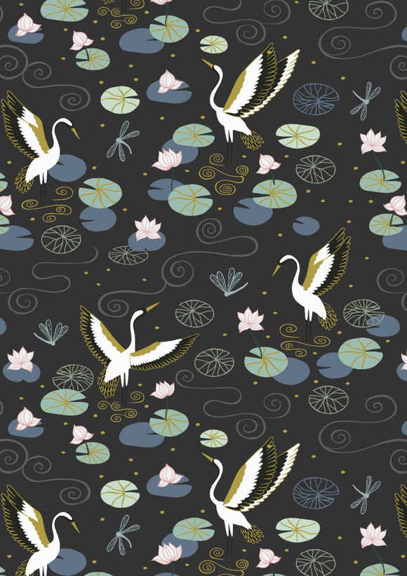 NEW! Lewis & Irene Jardin de Lis--Black Heron Lake<br><STRONG>$9.96/YARD</strong><br>$2.49/Quarter Yard