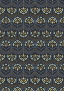 Lewis & Irene Jardin de Lis--Star Floral on Black<br><STRONG>$9.96/YARD</strong><br>$2.49/Quarter Yard