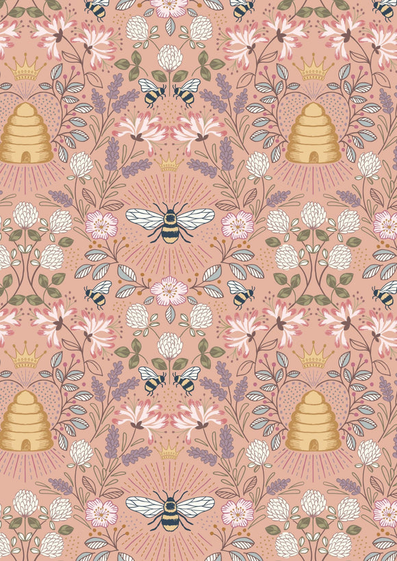 NEW! Lewis & Irene Queen Bee--Bee Hive on Peach<br><STRONG>$9.96/YARD</strong><br>$2.49/Quarter Yard