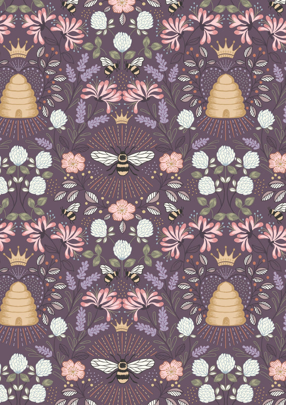 NEW! Lewis & Irene Queen Bee--Bee Hive on Aubergine<br><STRONG>$9.96/YARD</strong><br>$2.49/Quarter Yard
