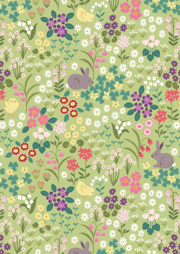 Lewis & Irene Bunny Hop--Bunny Chick Floral on Spring Green<br><STRONG>$9.96/YARD</strong><br>$2.49/Quarter Yard