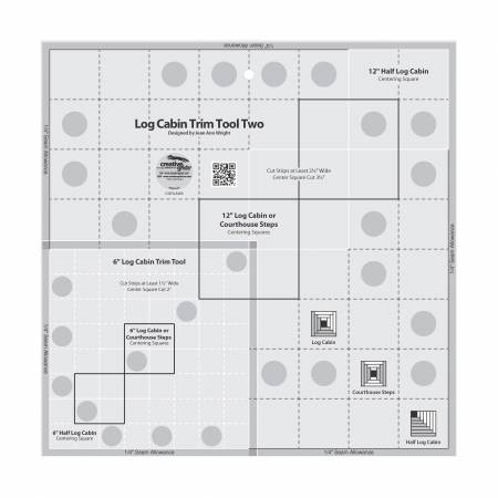 Creative Grids® Log Cabin Trim Tool Two 6in & 12in Blocks Quilt Ruler