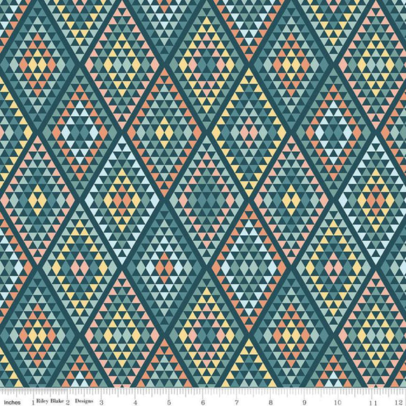Riley Blake Dream Weaver--Teal Diamonds<br><STRONG>$9.96/YARD</strong><br>$2.49/Quarter Yard