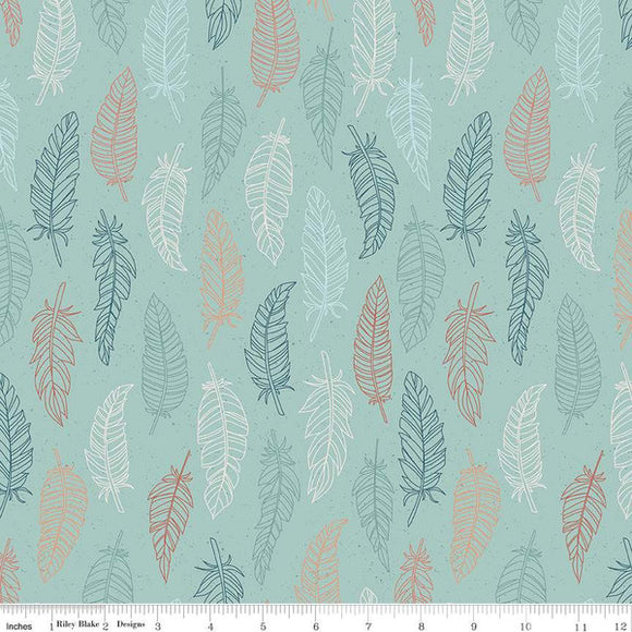 Riley Blake Dream Weaver--Green Feathers<br><STRONG>$9.96/YARD</strong><br>$2.49/Quarter Yard
