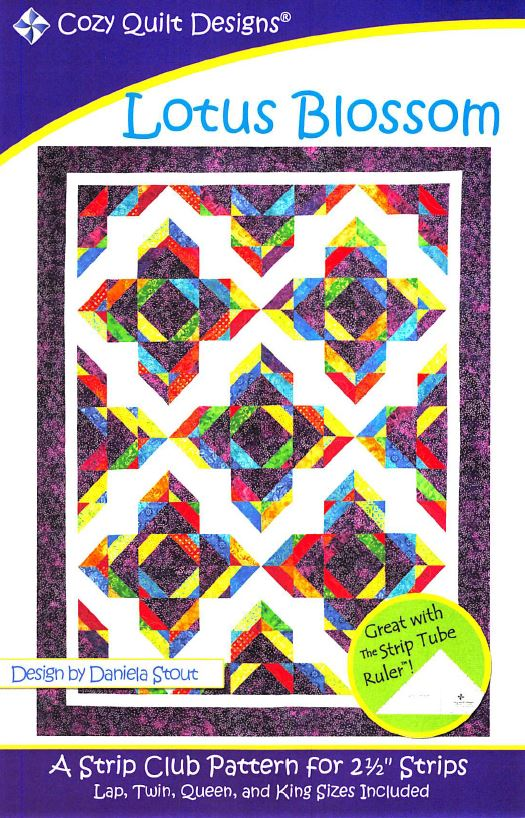 Cozy Quilt Designs Lotus Blossom Pattern <br> Click for fabric requirements