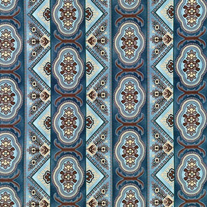 Robert Kaufman Charlotte c.1860 -- Border Stripe-Dusty Blue<br><STRONG>$9.96/YARD</strong><br>$2.49/Quarter Yard