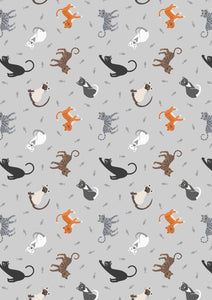 Lewis & Irene Small Things Pets--Cats on Pale Grey<br><STRONG>$9.96/YARD</strong><br>$2.49/Quarter Yard
