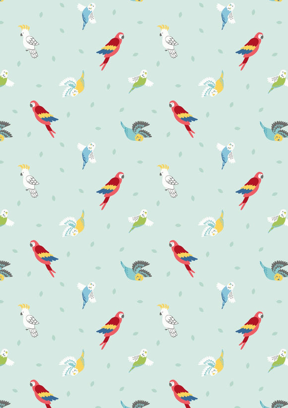 Lewis & Irene Small Things Pets--Birds on Light Peppermint<br><STRONG>$9.96/YARD</strong><br>$2.49/Quarter Yard