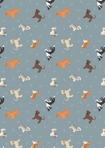 Lewis & Irene Small Things Pets--Dogs on Blue Grey<br><STRONG>$9.96/YARD</strong><br>$2.49/Quarter Yard