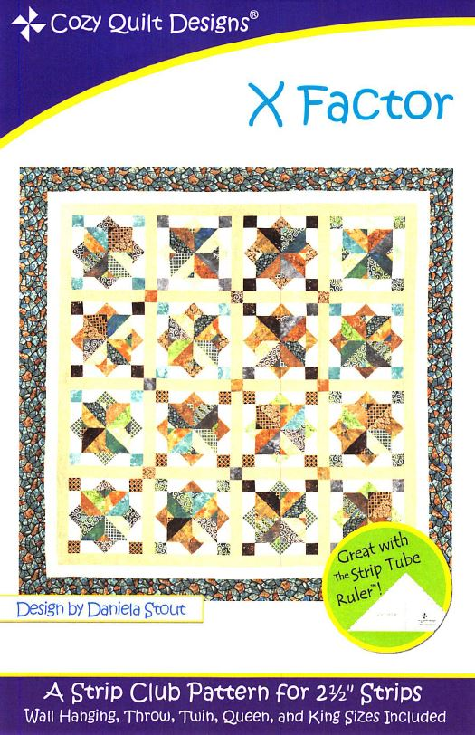 Cozy Quilt Designs X Factor Pattern <br> Click for fabric requirements