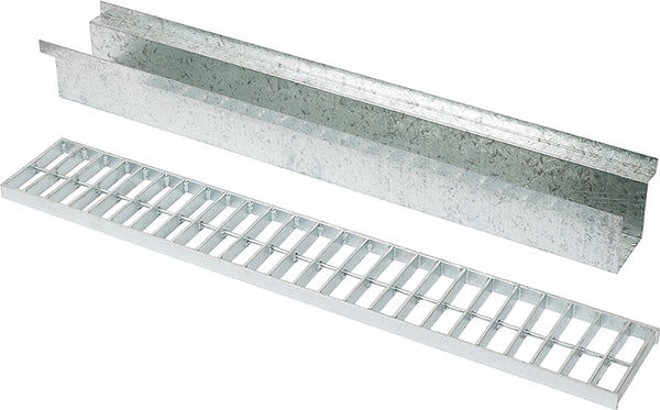 Heel Proof 150mm W x120mm D Galvanised Driveway Channel and Grates