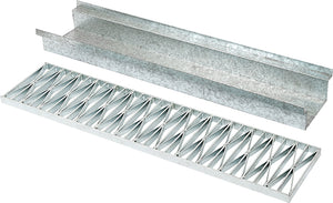 Traditional 230mm W x 100mm D Galvanised Driveway Channel and Grates