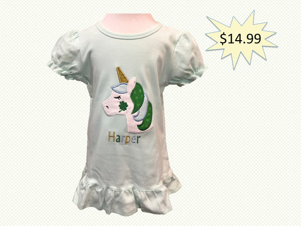 def10e79 Mint Green Lucky Unicorn Ruffle T-Shirt with Name | HH & Me