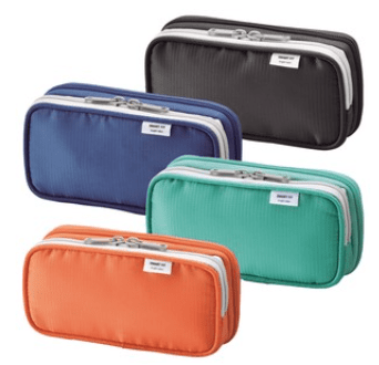 book style zipper pen case in black, blue, orange and green. Unzips to open flat.