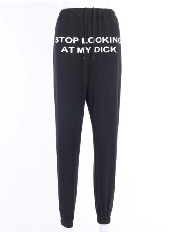 Noumode pantalon longue jogging stop looking at my dick femme noir