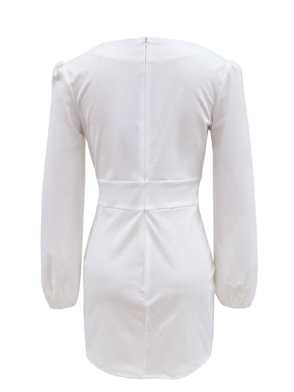 Noumode robe courte pearl v-cou manches longues mode femme blanche
