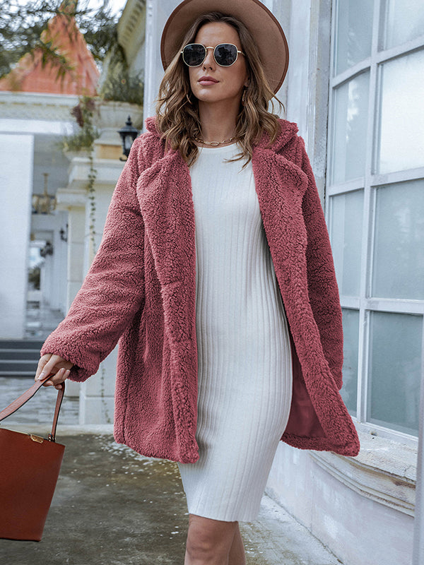 Noumode manteau teddy bear boutonnage col revers manches longues mode femme