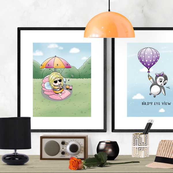 Little Bee Enjoying Bubble Tea Cute Art Print