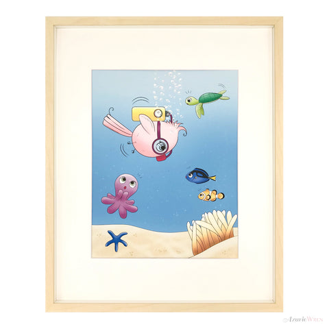 Little Birdie Ocean Diving Cute Art Print