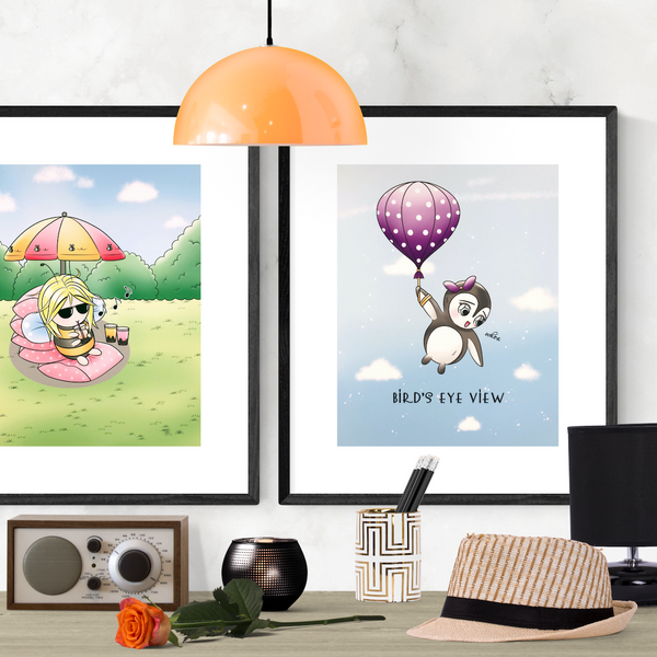 Little Penguin Floating Balloon Cute Art Print