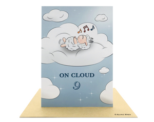 Cute greeting card with Little Sheep relaxing on cloud 9 | Birthday Card