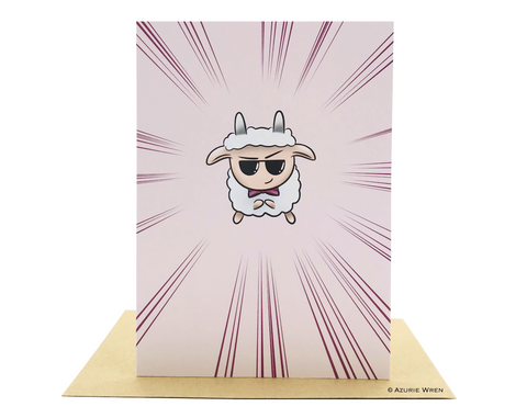 Cute greeting card with the Boss Sheep | Funny Birthday card
