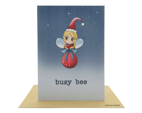 Cute greeting card with an adorable busy Bee Santa | Christmas card