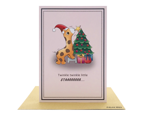 Cute greeting card with adorable Baby Santa Giraffe | Christmas card