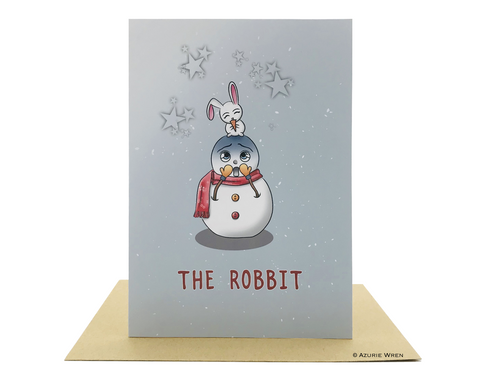 Cute greeting card with Little Bunny and Mr Snowman | Christmas card
