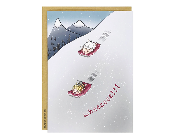 Cute greeting card with snow sledding fun | Birthday card | Friendship