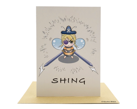 Cute greeting card with a pirate bee wielding swords | Funny card