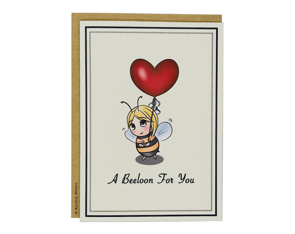 Cute greeting card with Little Bee giving a balloon | Anniversary card