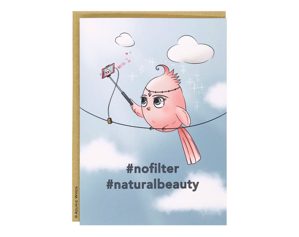 Cute greeting card with Little Birdie taking a selfie | Birthday card