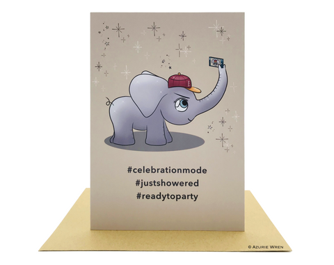 Cute greeting card with Baby Elephant taking a selfie | Funny card | Birthday card