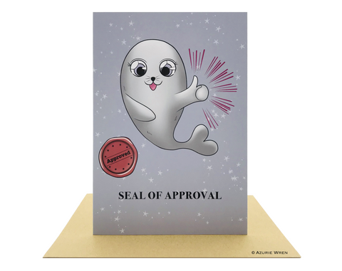 Cute greeting card with Baby Seal of approval | Birthday & Congrats