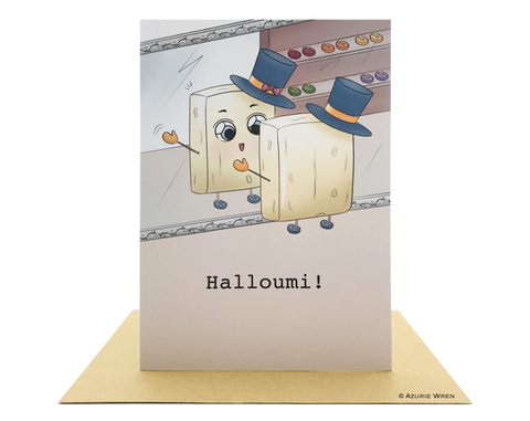 Cute greeting card with a halloumi | Birthday card | Funny card