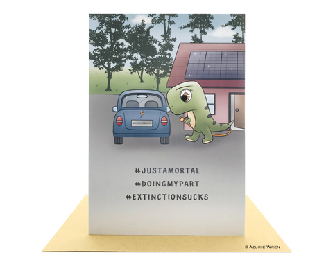 Cute greeting card of Baby T-Rex & electric car | Funny birthday card