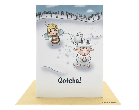 Cute greeting card of winter snowball fun | Birthday card | Christmas