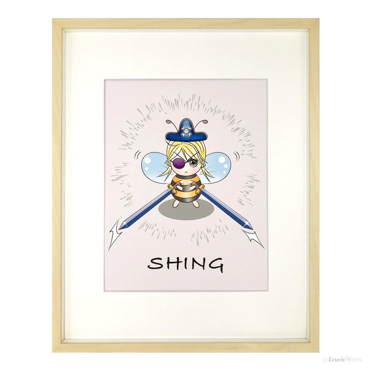 Pirate Bee with Swords Cute Art Print
