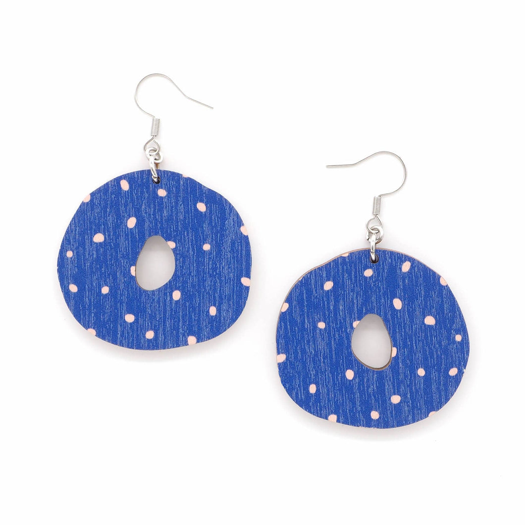 OUNNOS earrings, blue - pink