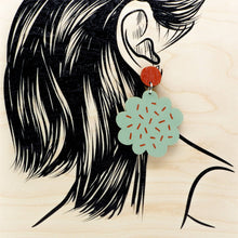Load image into Gallery viewer, PIPAR earrings, mint - red brown