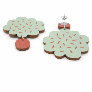 PIPAR earrings, mint - red brown